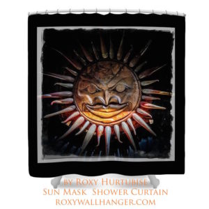 Sun Mask Totem Full Sized Image on Shower Curtain by Roxy Hurtubise