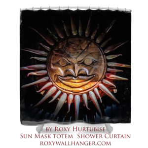 Sun Mask Totem Shower Curtain by Roxy Hurtubise using image slider to enlarge the image.